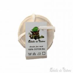 Lingettes démaquillantes lavables en coton bio - www.rebelledenature.fr
