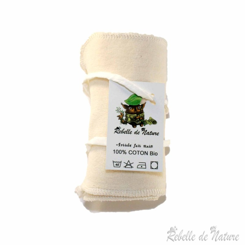 Lingettes de nettoyage bébé en coton bio - www.rebelledenature.fr