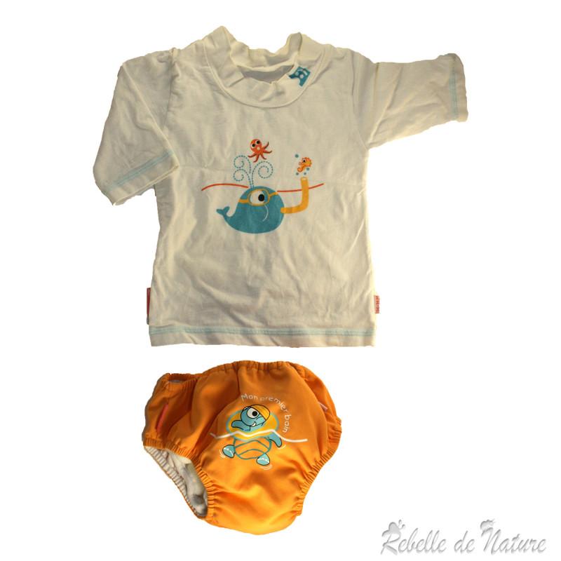 Ensemble de bain piwapee tee shirt plus maillot de bain - Couches lavables d occasion ...