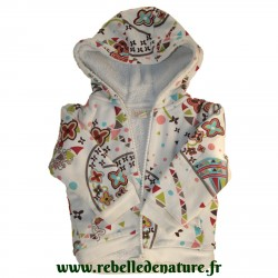 Veste à capuche la tribbu en coton bio d'occasion www.rebelledenature.fr