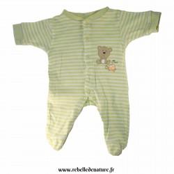 Pyjama rayé vert et blanc 1 mois en coton bio d'occasion - www.rebelledenature.fr