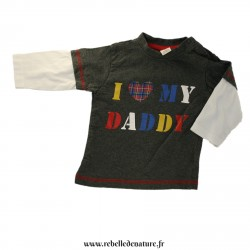 "Tee-shirt gris ""I love my daddy"" en coton biologique d'occasion - www.rebelledenature.fr"