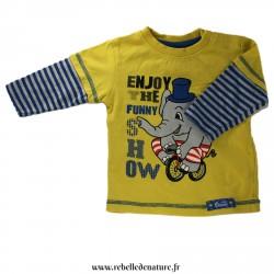 Tee-shirt jaune en coton biologique d'occasion - www.rebelledenature.fr