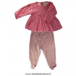 Pyjama rose deux pièces en coton bio d'occasion frugi - www.rebelledenature.fr