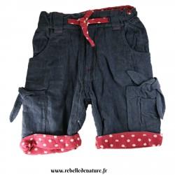 Pantalon cote velour bleu gris d'occasion en coton bio frugi - www.rebelledenature.fr