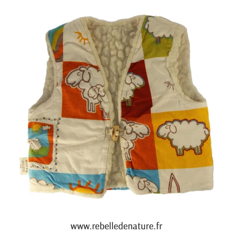 Gilet en pure laine vierge art de laine d'occasion - www.rebelledenature.fr