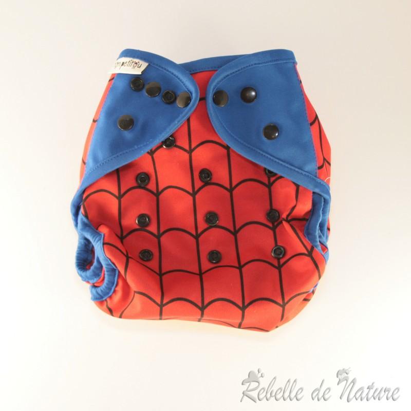 Couche lavable d'occasion spiderman mon petitou bi-best pour la nuit - www.rebelledenature.fr